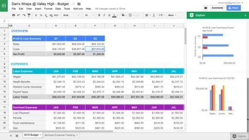Google Sheets - best software for writing a book