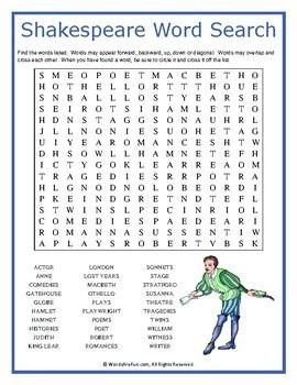 Shakespeare Word Search-English to Shakespeare